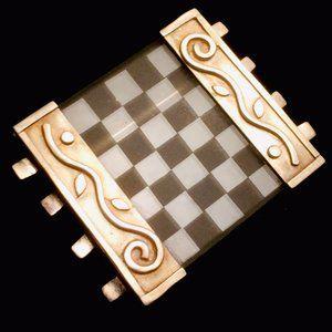 Vtg Modernist Sterling Glass Signed Brooch Pin